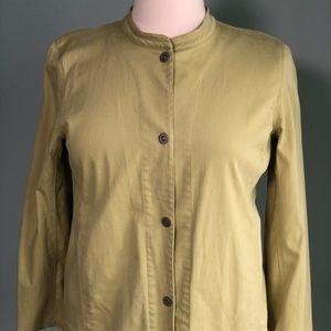Eileen Fisher celery green poplin jacket L